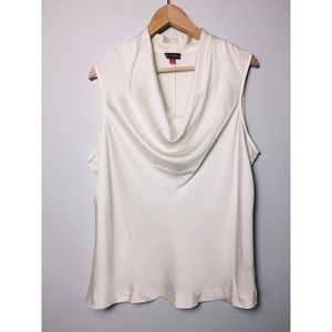 Vince Camuto Ivory Cowl Draped Neck Tank Top